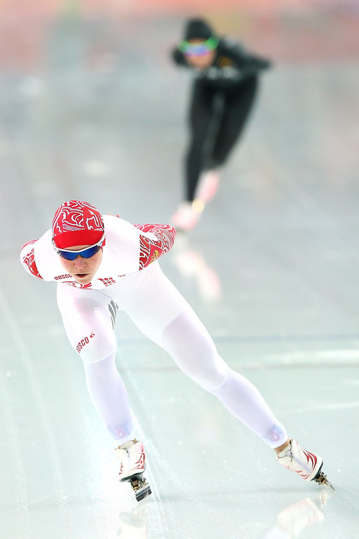 . Olga Graf of Russia competes during the Women\'s 3000m Speed Skating event during day 2 of the Sochi 2014 Winter Olympics at Adler Arena Skating Center on February 9, 2014 in Sochi, Russia.  (Photo by Streeter Lecka/Getty Images)