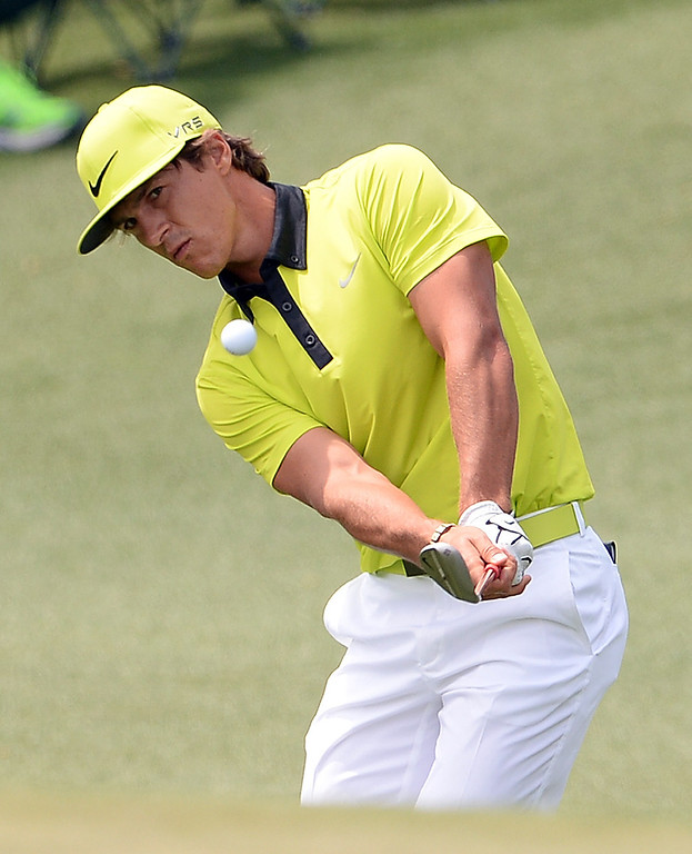 . Thorbjorn Olesen of Denmark plays a shot during the second round of the 78th Masters Golf Tournament at Augusta National Golf Club on April 11, 2014 in Augusta, Georgia. AFP PHOTO/Emmanuel DUNAND/AFP/Getty Images