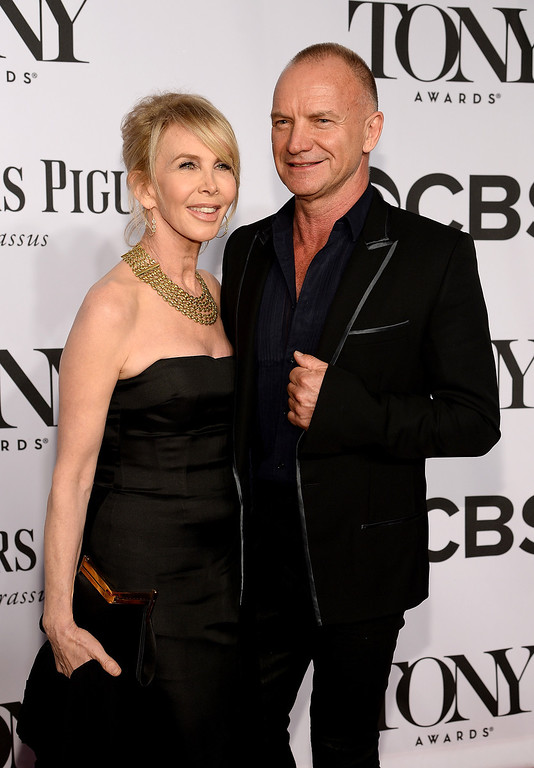. Recording artist Sting and actress Trudie Styler attend the 68th Annual Tony Awards at Radio City Music Hall on June 8, 2014 in New York City.  (Photo by Dimitrios Kambouris/Getty Images for Tony Awards Productions)