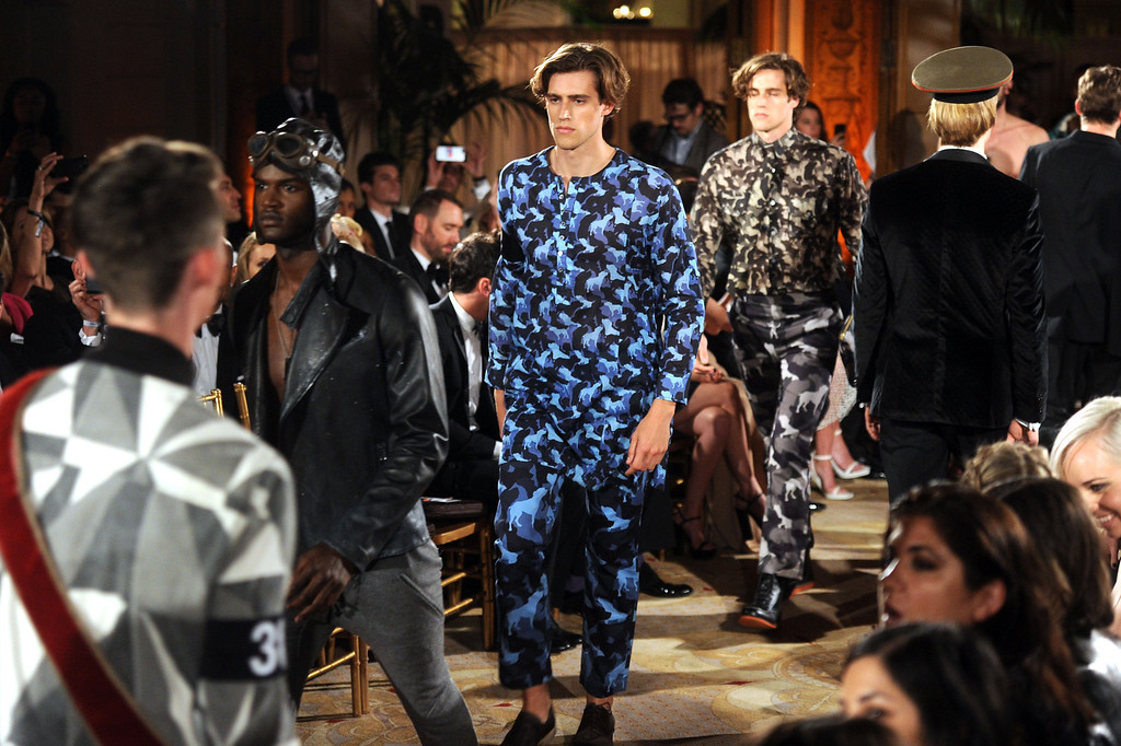 . NEW YORK, NY - JUNE 13:  Models Jordan Stenmark and Zac Stenmark walk the runway during the 4th Annual amfAR Inspiration Gala New York at The Plaza Hotel on June 13, 2013 in New York City.  (Photo by Jamie McCarthy/Getty Images)