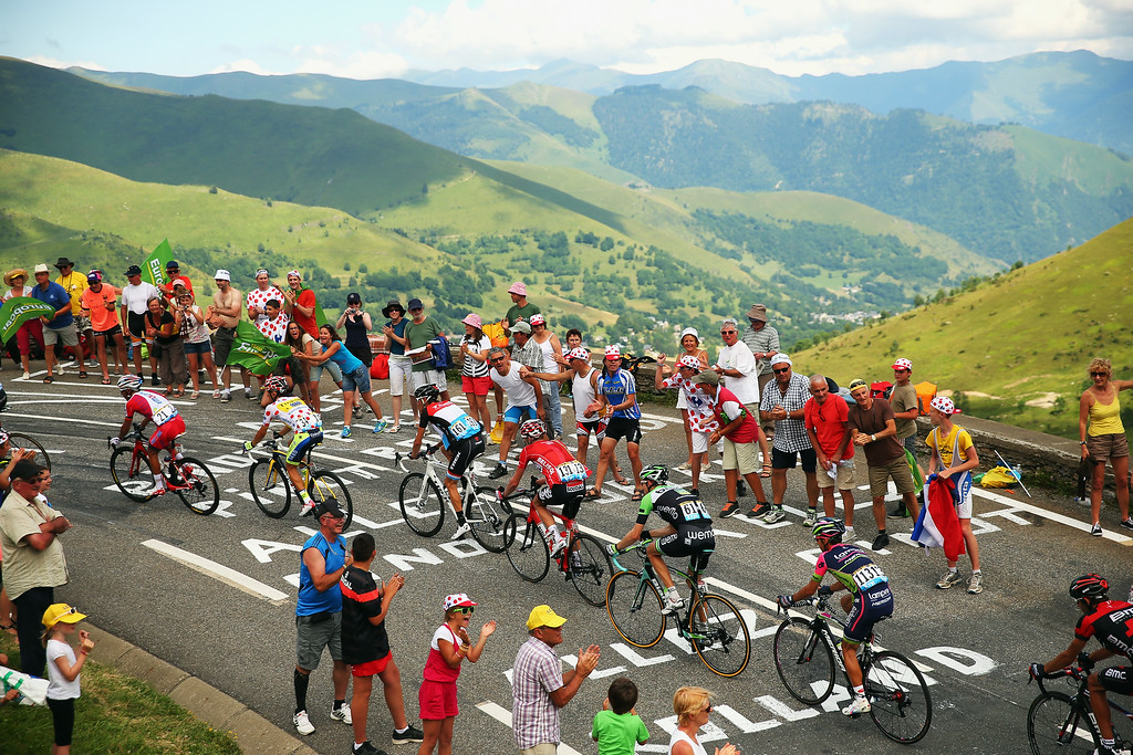 . The chase group in action during the seventeenth stage of the 2014 Tour de France, a 125km stage between Saint-Gaudens and Saint-Lary-Soulan Pla d\'Adet, on July 23, 2014 in Saint-Lary Pla d\'Adet, France.  (Photo by Bryn Lennon/Getty Images)