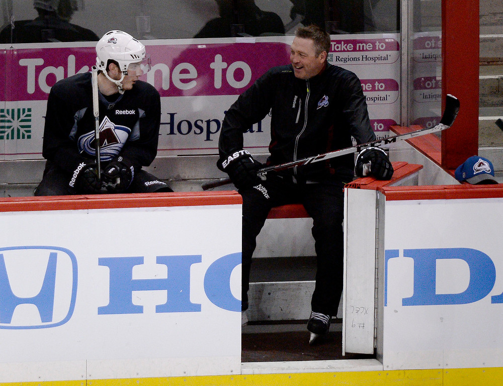 . ST PAUL, MN - APRIL 22: Colorado Avalanche head coach Patrick Roy chats with Colorado Avalanche center Matt Duchene (9) on the bench during a break  from skating drills April 22, 2014 at Xcel Energy Center. Duchene was sidelined by a knee injury during a game against the San Jose Sharks March 29 in a strange collision with teammate Jamie McGinn. (Photo by John Leyba/The Denver Post)