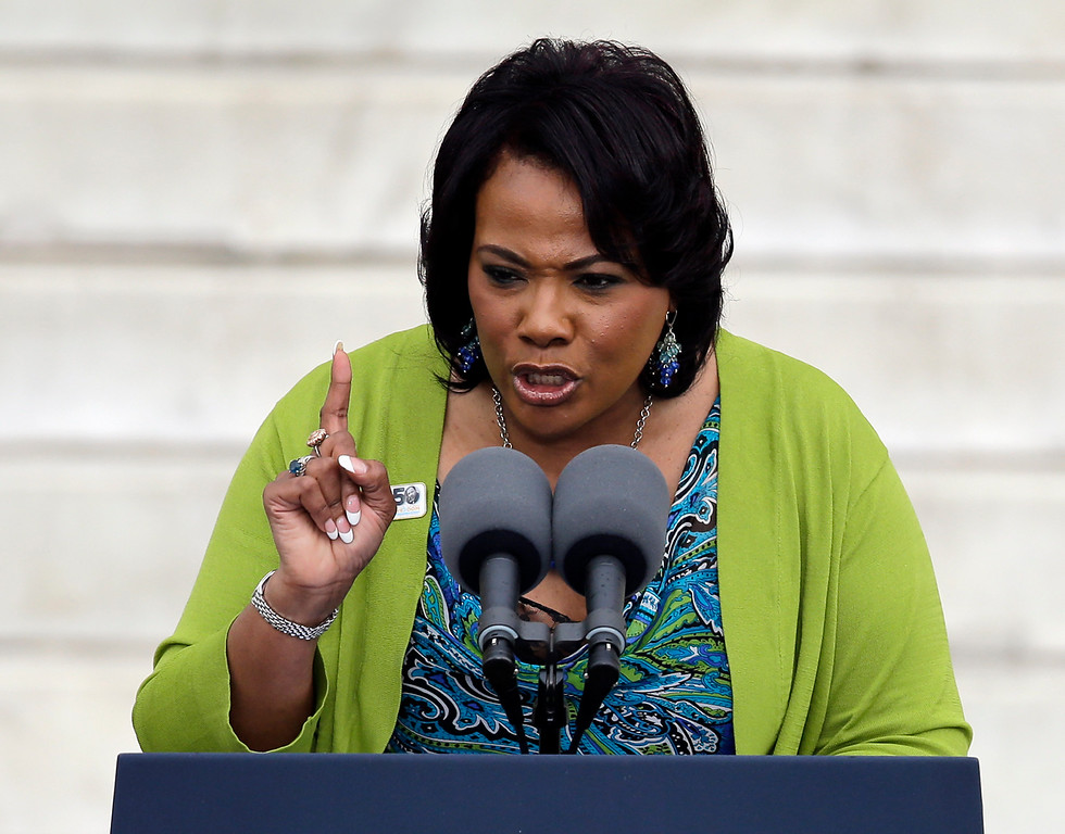 """. Rev. Dr. Bernice King, CEO of The King Center for Non-Violent Social Change, and daughter of Martin Luther King Jr., speaks at the Let Freedom Ring ceremony at the Lincoln Memorial in Washington, Wednesday, Aug. 28, 2013, to commemorate the 50th anniversary of the 1963 March on Washington for Jobs and Freedom. It was 50 years ago today when Martin Luther King Jr. delivered his \""""I Have a Dream\"""" speech from the steps of the memorial. (AP Photo/Carolyn Kaster)"""