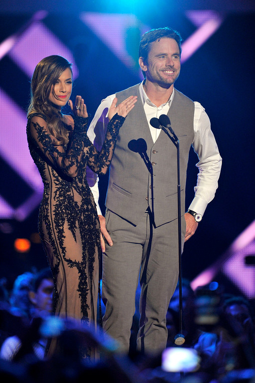 . Jana Kramer, left, and Chip Esten present the award for duo video of the year at the 2013 CMT Music Awards at Bridgestone Arena on Wednesday, June 5, 2013, in Nashville, Tenn. (Photo by Donn Jones/Invision/AP)