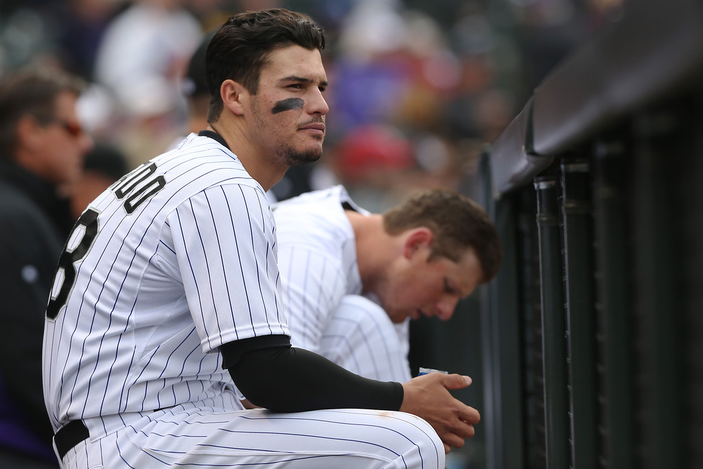 . Colorado Rockies third baseman Nelson Arenado looks on against the Arizona Diamondbacks in the eighth inning of the Diamondbacks\' 5-3 victory in the MLB National League baseball game in Denver on Sunday, April 6, 2014. (AP Photo/David Zalubowski)