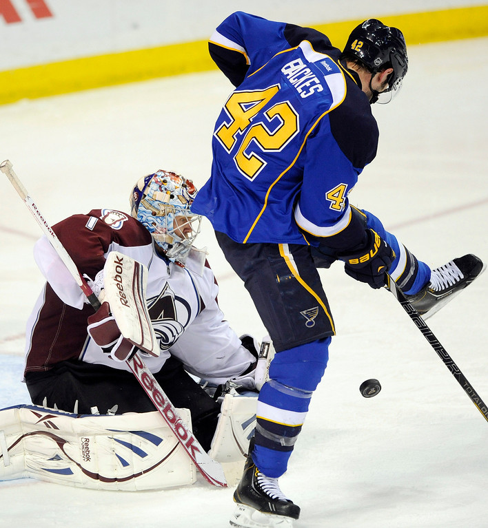 . Colorado Avalanche\'s goalie Semyon Varlamon (1), of Russia, blocks a shot by St. Louis Blues\' David Backes (42) in the third period of an NHL hockey game Tuesday, April 23, 2013, in St. Louis. The Blues won 3-1. (AP Photo/Bill Boyce)