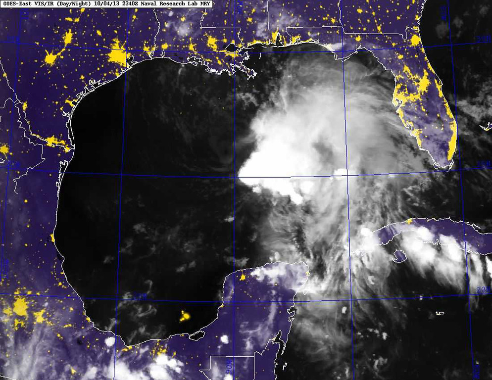 . This image provided by the Naval Research Laboratory shows a infrared satellite image taken at 7:40 p.m. EDT Friday Oct. 4, 2013 of Tropical Storm Karen. Karen continued losing strength Saturday as it headed toward the central Gulf Coast, but forecasters were still expecting it to bring significant rain and potential flooding to low-lying areas. The National Hurricane Center reported at 2 a.m. Saturday that Karen\'s maximum sustained winds had dropped to 40 mph, making it a weak tropical storm. The storm was moving west-northwest at 10 mph to 15 mph. Forecasters say there is a slight chance of strengthening before making landfall. (AP Photo/Naval Research Laboratory)