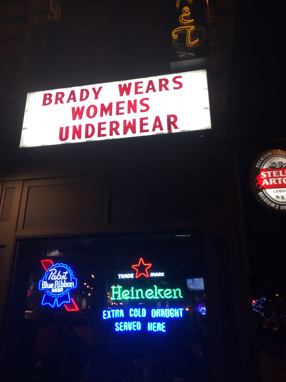 . The marquee at the Hornet restaurant on Broadway in Denver tweaks the New England Patriots.  (Submitted by Kevin Dale)
