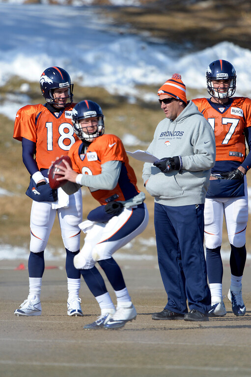 . Denver Broncos quarterback Peyton Manning (18) talks with quarterbacks coach Greg Knapp during practice January 23, 2014 at Dove Valley.   (Photo by John Leyba/The Denver Post)