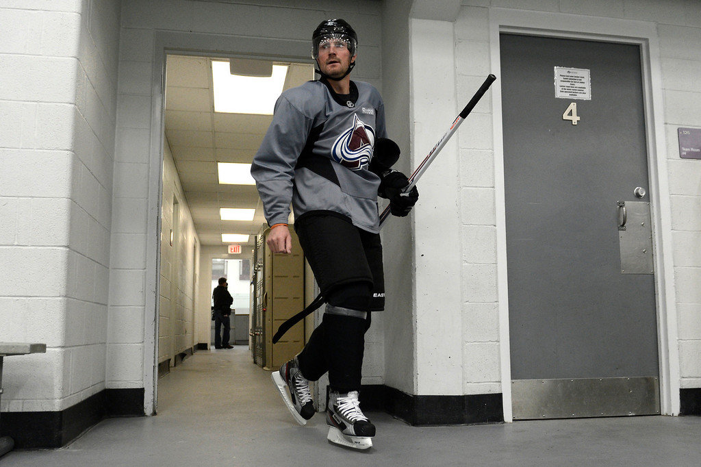 . Colorado Avalanche right wing Milan Hejduk #23 heading to the ice during training camp practice at Family Sports Center in Centennial, Colorado, Monday, January 14,  2013.    Joe Amon, The Denver Post