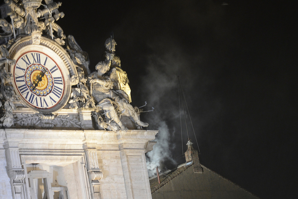 . White smoke rises from the chimney on the roof of the Sistine Chapel meaning that cardinals elected a new pope in their ballot of their secret conclave on March 13, 2013 at the Vatican.  AFP PHOTO / FILIPPO MONTEFORTE/AFP/Getty Images