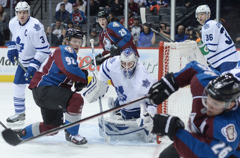 . DENVER, CO. - JANUARY 21:  Toronto goalie James Reimer kept his eyes on the puck in the first period. The Colorado Avalanche hosted the Toronto Maple Leafs Tuesday night, January 21, 2014 at the Pepsi Center. Photo By Karl Gehring/The Denver Post