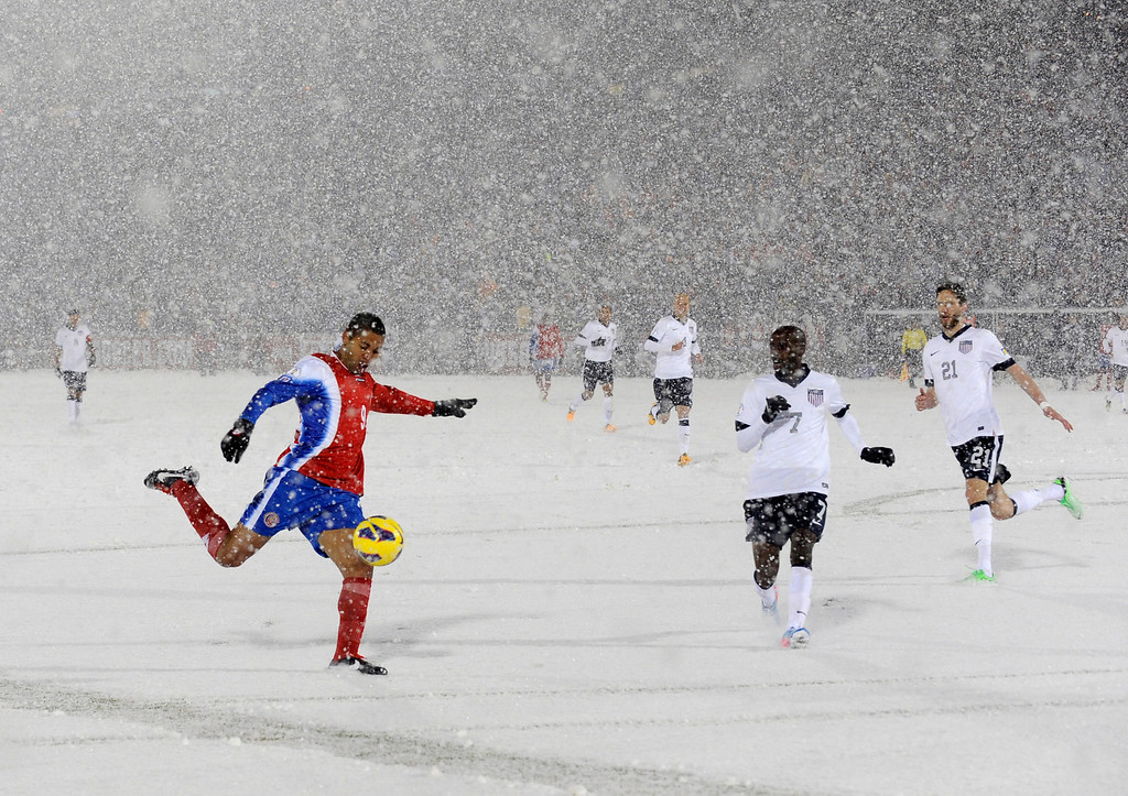 . Costa Rica forward Alvaro Saborio (9) takes a shot on goal against the United States during the second half of a World Cup qualifier soccer match in Commerce City, Colo., Friday, March 22, 2013. The United States beat Costa Rica 1-0. (AP Photo/Jack Dempsey, File)