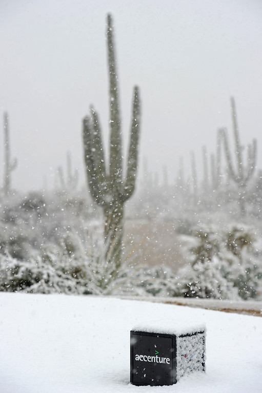 . MARANA, AZ - FEBRUARY 20:  A detail of a tee box marker covered with snow as play was suspended during the first round of the World Golf Championships - Accenture Match Play at the Golf Club at Dove Mountain on February 20, 2013 in Marana, Arizona.  (Photo by Stuart Franklin/Getty Images)
