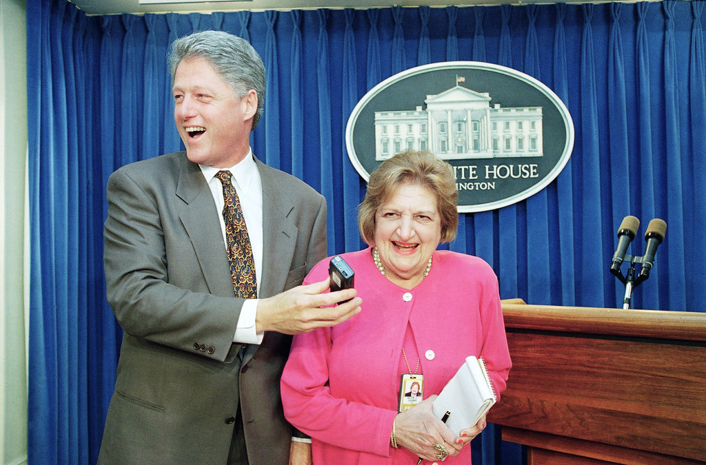 . President Bill Clinton �interviews� UPI White House correspondent Helen Thomas in the White House briefing room in Washington on August 4, 1995. The president joined reporters in the briefing room during a 75th birthday party for Thomas. (AP Photo/Greg Gibson)