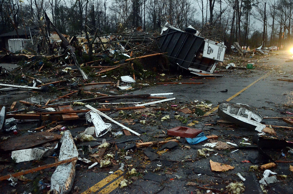 . The American Red Cross center in Hattiesburg, Miss., is completely destroyed after an apparent tornado that moved through area on Sunday, Feb. 10, 2013. (AP Photo/The Hattiesburg American, Bryant Hawkins)