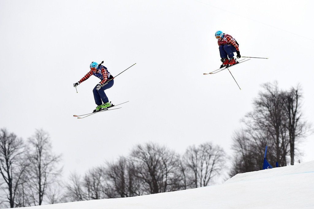 . Marielle Thompson of Canada leads Kelsey Serwa of Canada in the Freestyle Skiing Womens\' Ski Cross Big Final on day 14 of the 2014 Winter Olympics at Rosa Khutor Extreme Park on February 21, 2014 in Sochi, Russia.  (Photo by Lars Baron/Getty Images)
