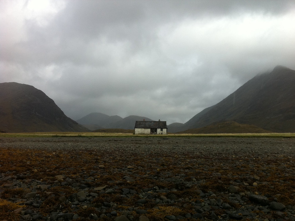 """. This October 2013 photo shows a simple house called a \""""bothy\"""" at the bay at Camasunary on the Isle of Skye. The bothy provides free, if basic, shelter to hikers. (AP Photo/Cara Anna)"""
