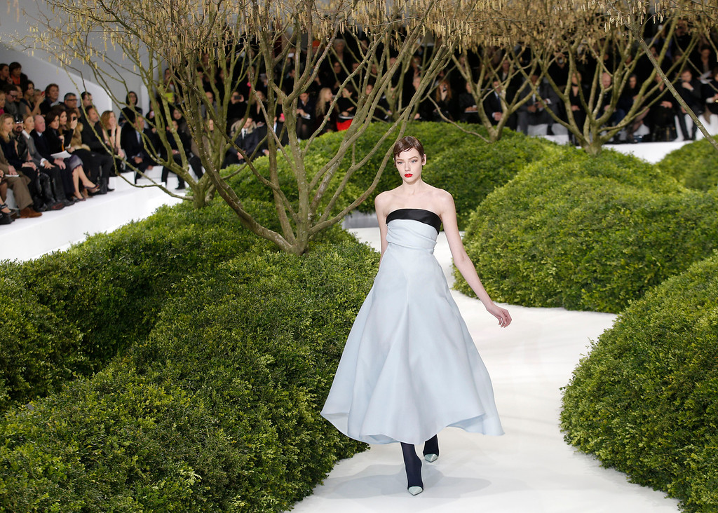 . A model presents a creation by Raf Simons for Christian Dior\'s Spring Summer 2013 Haute Couture fashion collection, presented in Paris, Monday, Jan.21, 2013. (AP Photo/Christophe Ena)