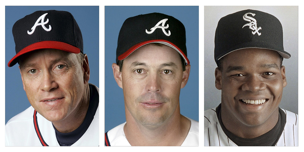 . From left are Tom Glavine in 2008, Greg Maddux in 2008, and Frank Thomas in 1994 file photos. Glavine, Maddux and Thomas were elected to the Baseball Hall of Fame, Wednesday, Jan. 8, 2014. (AP Photo/File)
