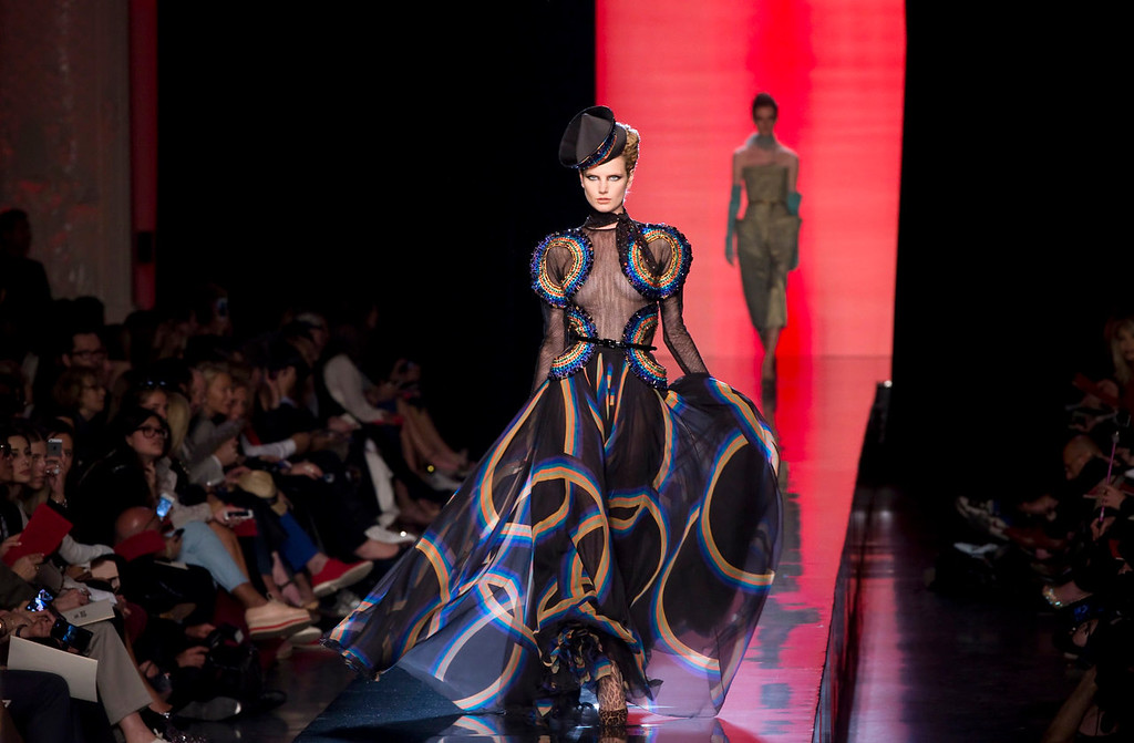 . A model presents a creation by French designer Jean Paul Gaultier as part of his Haute Couture Fall Winter 2013/2014 fashion show in Paris July 3, 2013    REUTERS/Gonzalo Fuentes