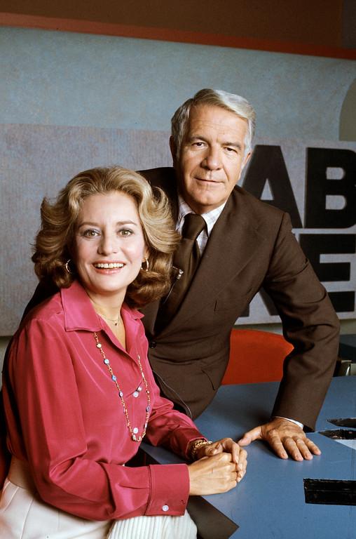 . ABC NEWS - 9/30/76 - Harry Reasoner and Barbara Walters anchor the ABC Evening News. (ABC PHOTO ARCHIVES.)