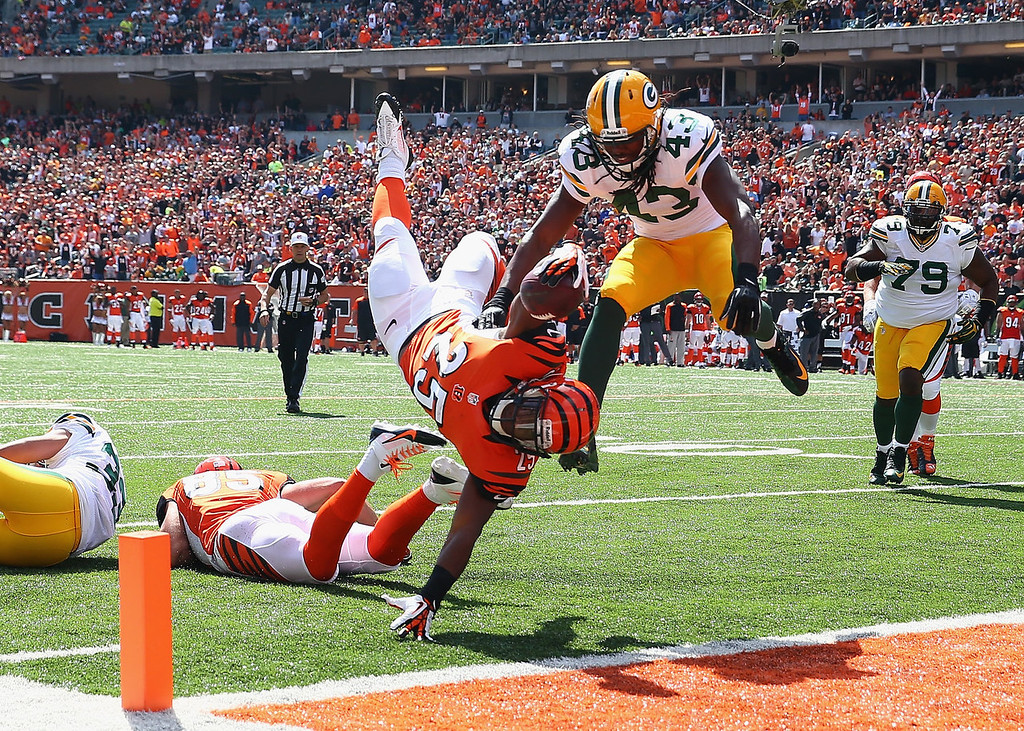 . Giovani Bernard #25 of the Cincinnati Bengals scores a touchdown during the NFL game against the Green Bay Packers at Paul Brown Stadium on September 22, 2013 in Cincinnati, Ohio.  (Photo by Andy Lyons/Getty Images)