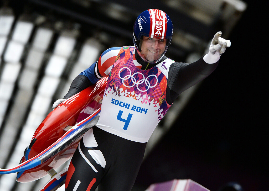 . Christopher Mazdzer of the USA reacts after his fourth run in the men\'s singles Luge at the Sanki Sliding Center at the Sochi 2014 Olympic Games, Krasnaya Polyana, Russia, 09 February 2014.  EPA/VASSIL DONEV