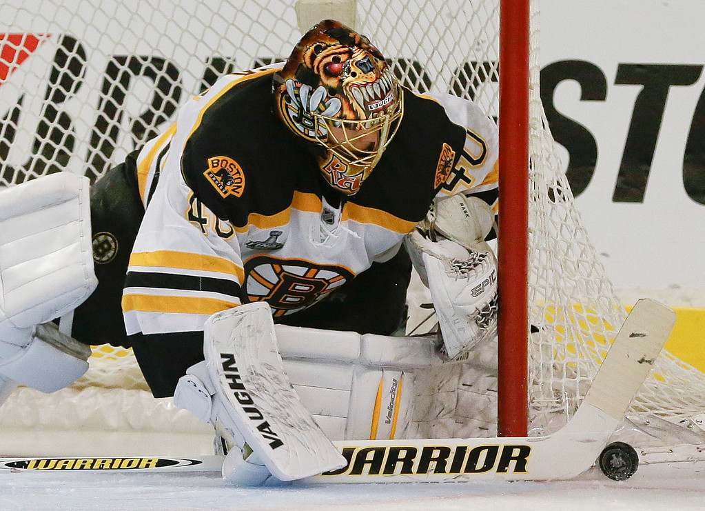 . Boston Bruins goalie Tuukka Rask (40) seals off the goal against the Chicago Blackhawks in the second period during Game 2 of the NHL hockey Stanley Cup Finals, Saturday, June 15, 2013, in Chicago. (AP Photo/Nam Y. Huh)