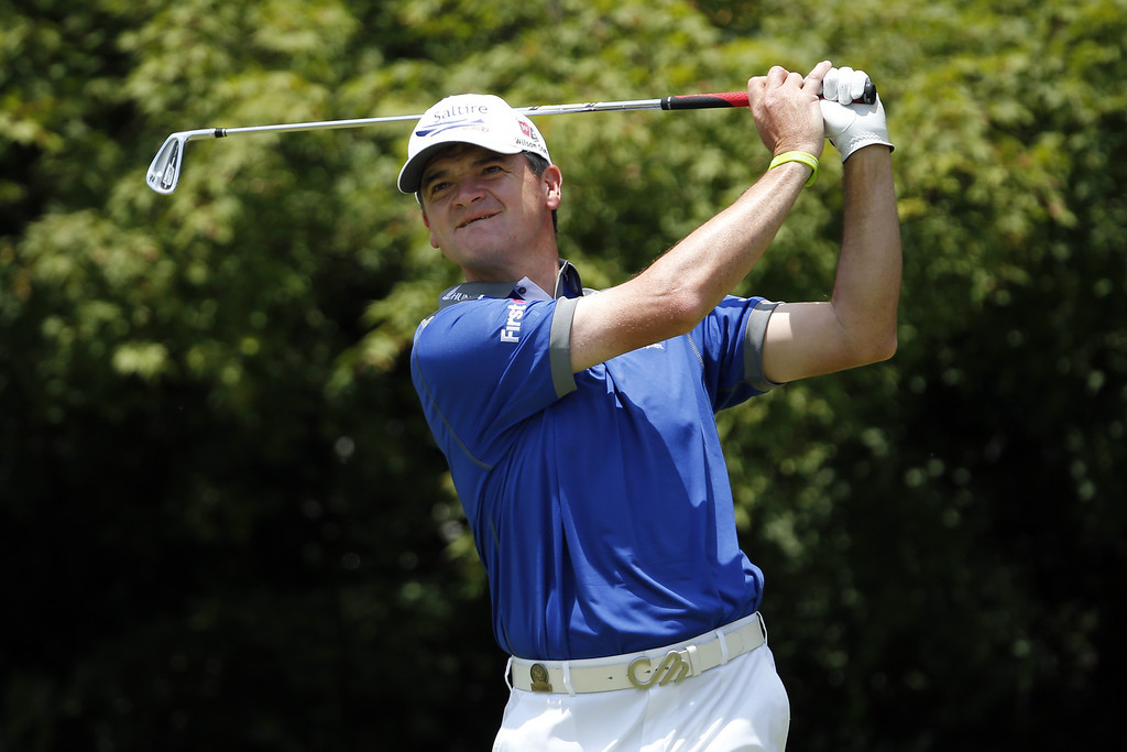 . Paul Lawrie of Scotland  looks on after hitting his tee shot on the 11th hole during Round Three of the 113th U.S. Open at Merion Golf Club on June 15, 2013 in Ardmore, Pennsylvania.  (Photo by Rob Carr/Getty Images)