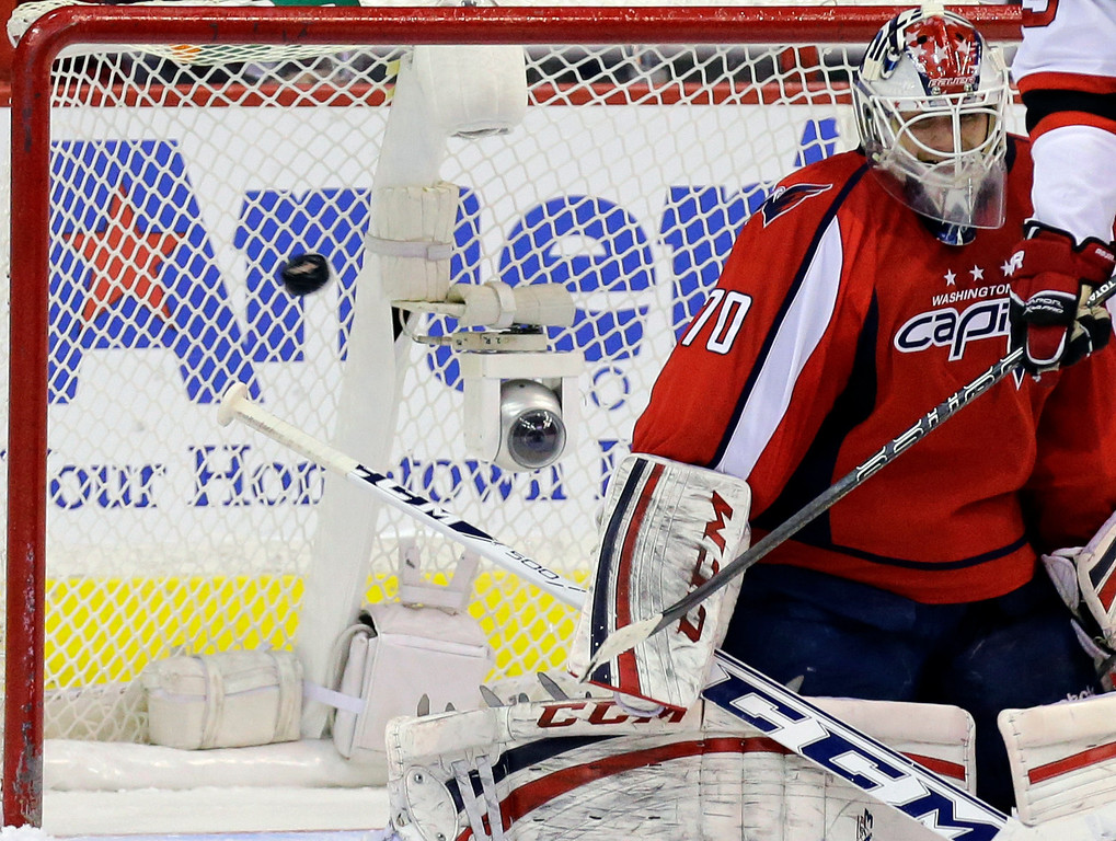 . Washington Capitals goalie Braden Holtby (70) cannot make the save on the winning goal by New Jersey Devils right wing Ilya Kovalchuk, of Russia, in the third period of an NHL hockey game, Thursday, Feb. 21, 2013, in Washington. The Devils won 3-2. (AP Photo/Alex Brandon)