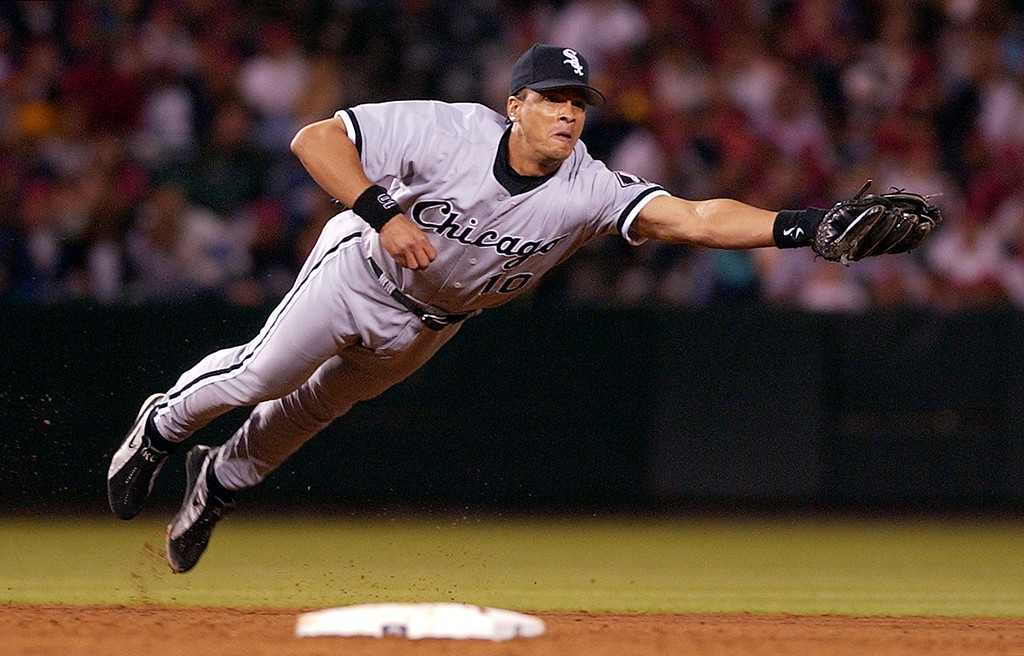 . ROYCE CLAYTON -- Chicago White Sox shortstop Royce Clayton dives to rob Anaheim Angels\' David Eckstein of a base hit during the sixth inning on  May 11, 2002, in Anaheim, Calif. (AP Photo/Mark J. Terrill)