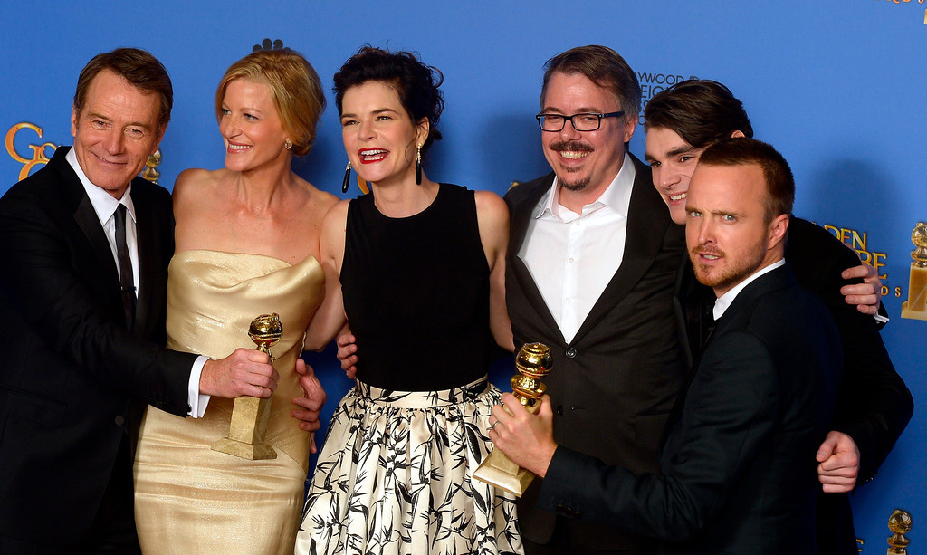 . The cast of the TV series \'Breaking Bad\', actors Bryan Cranston, Anna Gunn and Betsy Brandt, writer-producer Vince Gilligan, actors R.J. Mitte and Aaron Paul pose with their Golden Globe for Best Television Series - Drama in the press room at the 71st Annual Golden Globe Awards at the Beverly Hilton, in Beverly Hills, California, USA, 12 January 2014.  EPA/PAUL BUCK