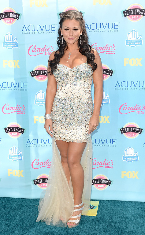 . Television personality Jenni \'JWOWW\' Farley attends the Teen Choice Awards 2013 at Gibson Amphitheatre on August 11, 2013 in Universal City, California.  (Photo by Jason Merritt/Getty Images)
