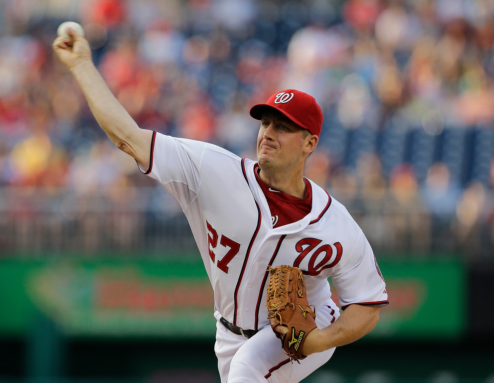 . Washington Nationals starting pitcher Jordan Zimmermann throws during the first inning of a baseball game against the Colorado Rockies at Nationals Park Thursday, June 20, 2013, in Washington. (AP Photo/Alex Brandon)