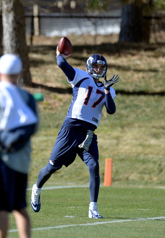 . Denver Broncos quarterback Brock Osweiler (17) throws a pass during practice November 20, 2013 at Dove Valley. Peyton Manning did not participate in practice.  (Photo by John Leyba/The Denver Post)