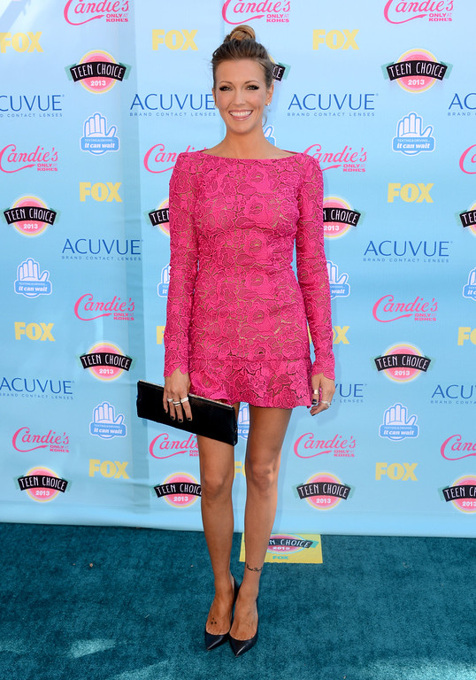 . Katie Cassidy arrives at the Teen Choice Awards at the Gibson Amphitheater on Sunday, Aug. 11, 2013, in Los Angeles. (Photo by Jordan Strauss/Invision/AP)