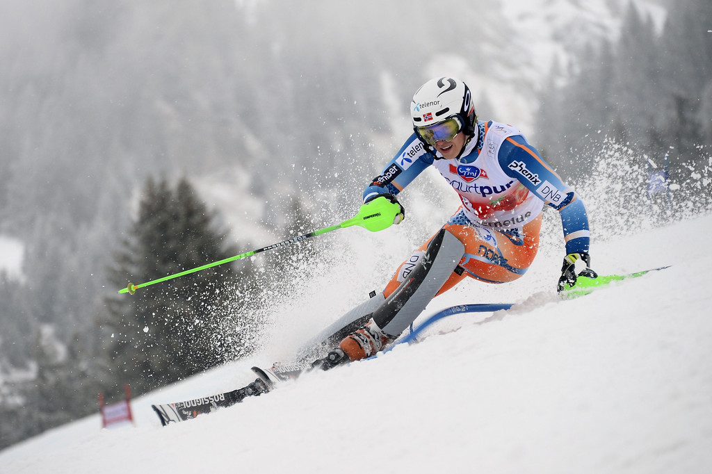 . Norway\'s Henrik Kristoffersen competes during the FIS Men\'s alpine skiing World Cup Slalom finals,  on March 16, 2014,  in Lenzerheide. AFP PHOTO / FABRICE COFFRINI
