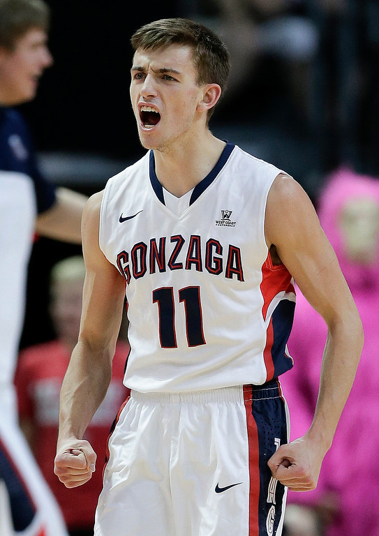 . Gonzaga\'s David Stockton reacts after a BYU turnover in the first half of the NCAA West Coast Conference tournament championship college basketball game, Tuesday, March 11, 2014, in Las Vegas. (AP Photo/Julie Jacobson)