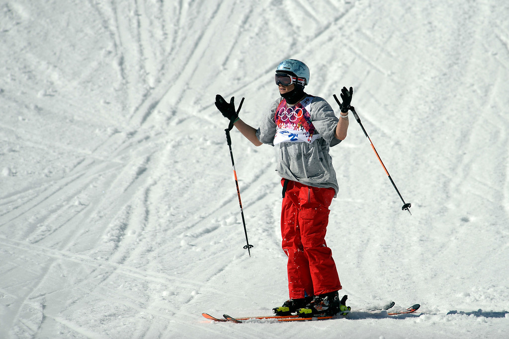 . U.S.A. skier Bobby Brown reacts to wiping out during the men\'s ski slopestyle final at the Rosa Khutor Extreme Park. Sochi 2014 Winter Olympics on Thursday, February 13, 2014. (Photo by AAron Ontiveroz/The Denver Post)