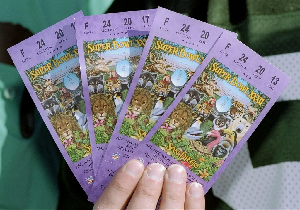 . Tickets for Super Bowl  XXXII between the Denver Broncos and Green Bay Packers at Qualcomm Stadium in San Diego, California.  The Denver Broncos defeated the Green Bay Packers 31-24.(Jon Ferry/Allsport)