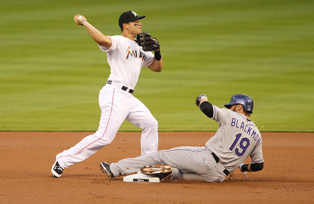 . Second baseman Jeff Baker #10 of the Miami Marlins turns a double play against Charlie Blackmon #19 of the Colorado rockies during the second inning at Marlins Park on April 2, 2014 in Miami, Florida.  (Photo by Marc Serota/Getty Images)