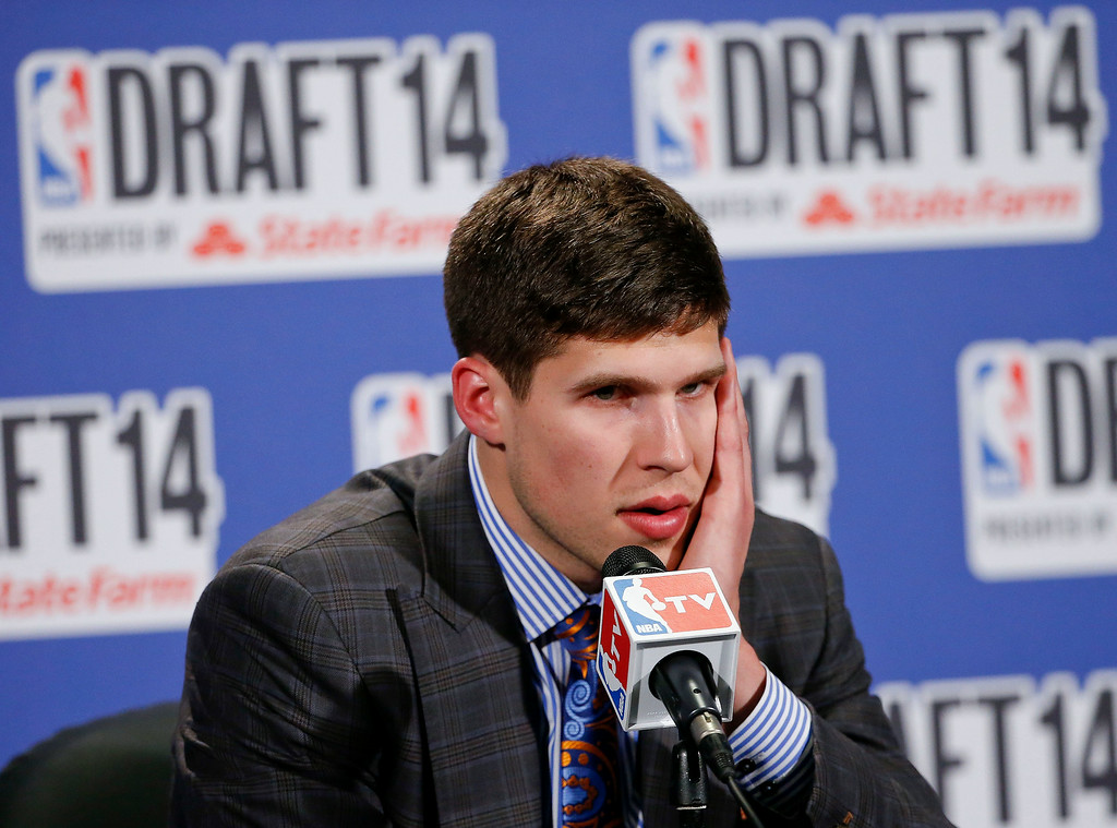. Creighton forward Doug McDermott answers questions during an interview after the Denver Nuggets, who selected him as the 11th overall pick, traded him to the Chicago Bulls during the 2014 NBA draft, Thursday, June 26, 2014, in New York. (AP Photo/Jason DeCrow)