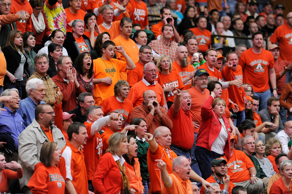 . FT. COLLINS, CO. - FEBRUARY 13: Rams fans assisted the refs with a call in the second half. Colorado State defeated San Diego State 66-60 Wednesday night, February 13, 2013 at Moby Arena in Fort Collins. The Rams have won 27 straight games at home. (Photo By Karl Gehring/The Denver Post)