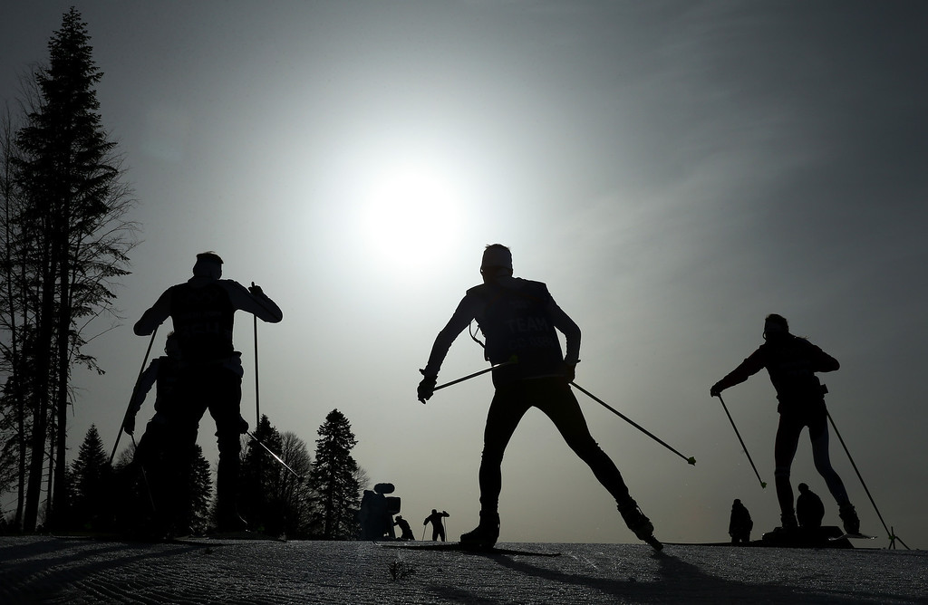 . Athletes compete in the Men\'s 50 km Mass Start Free during day 16 of the Sochi 2014 Winter Olympics at Laura Cross-country Ski & Biathlon Center on February 23, 2014 in Sochi, Russia.  (Photo by Julian Finney/Getty Images)