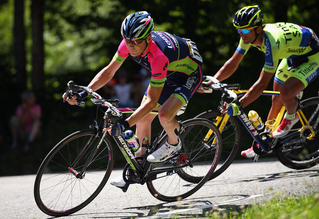 . Chris Horner of the United States and Lampre-Merida in action during the seventeenth stage of the 2014 Tour de France, a 125km stage between Saint-Gaudens and Saint-Lary-Soulan Pla d\'Adet, on July 23, 2014 in Saint-Lary Pla d\'Adet, France.  (Photo by Bryn Lennon/Getty Images)