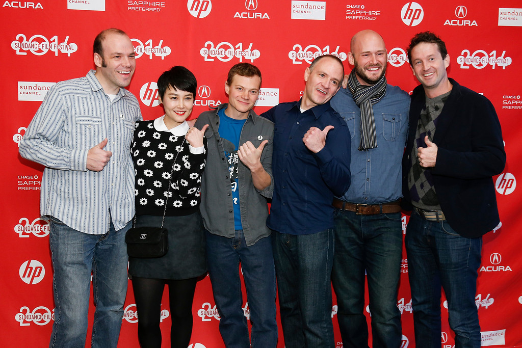 ". From left, writer and producer Nathan Zellner, cast member Rinko Kikuchi, director of photography Sean Porter, director David Zellner, producer Chris Ohlson and Director of Programming for the Sundance Film Festival Trevor Groth pose together at the premiere of the film ""Kumiko, the Treasure Hunter,\"" during the 2014 Sundance Film Festival, on Monday, Jan. 20, 2014, in Park City, Utah. (Photo by Danny Moloshok/Invision/AP)"