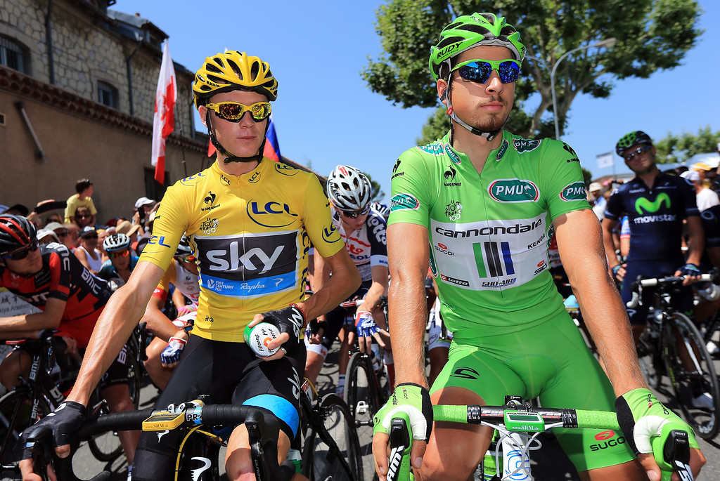 . General classification leader Chris Froome of Great Britain and Team Sky Procycling and points classification leader Peter Sagan of Slovakia and Cannondale look on ahead of stage sixteen of the 2013 Tour de France, a 168KM road stage from Vaison-la-Romaine to Gap, on July 16, 2013 in Vaison-la-Romaine, France.  (Photo by Doug Pensinger/Getty Images)