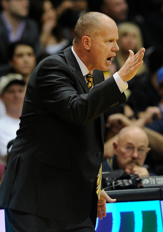 . BOULDER, CO. - FEBRUARY 14: Colorado coach Tad Boyle came out of his seat to make a point in the second half. The University of Colorado men\'s basketball team defeated Arizona 71-58 Thursday night, February 14, 2013 at the Coors Event Center in Boulder. (Photo By Karl Gehring/The Denver Post)