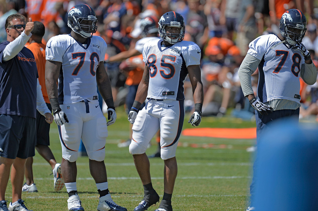 . Denver Broncos TE Virgil Green (85) looks on in drills during training camp August 5, 2013 at Dove Valley. (Photo By John Leyba/The Denver Post)
